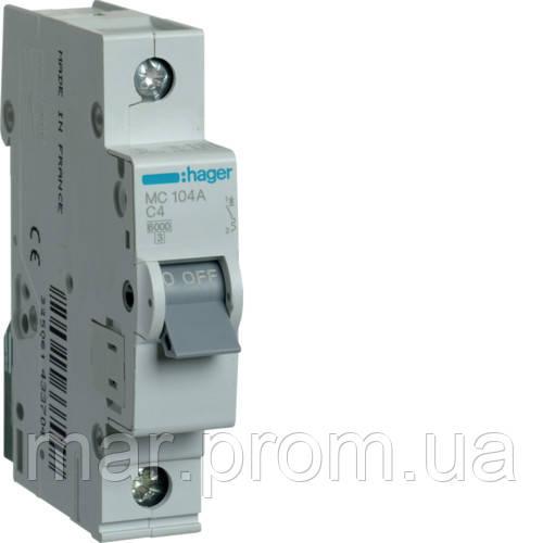 Автоматический выключатель 1P 6kA C-4A 1M