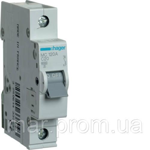 Автоматический выключатель 1P 6kA C-20A 1M