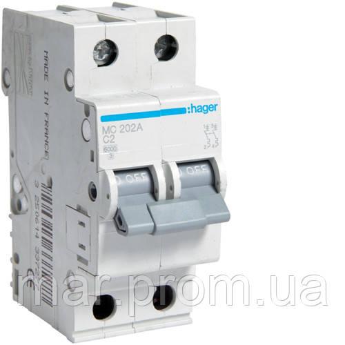 Автоматический выключатель 2P 6kA C-1A 2M