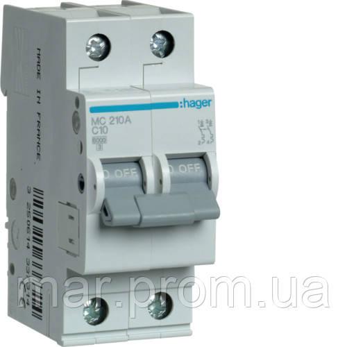 Автоматический выключатель 2P 6kA C-10A 2M