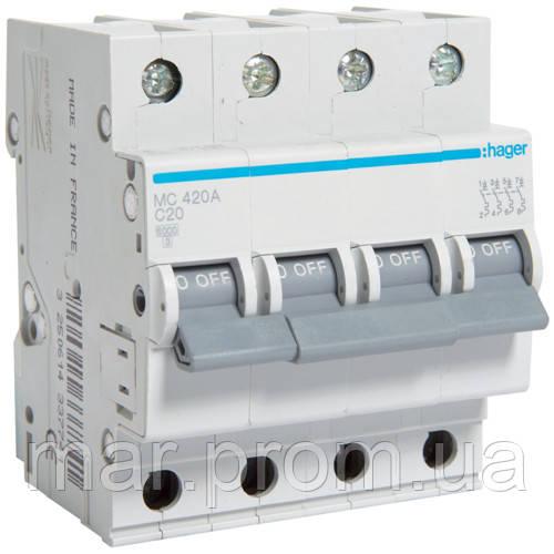 Автоматический выключатель 4P 6kA C-20A 4M