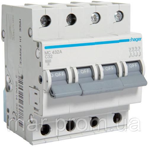 Автоматический выключатель 4P 6kA C-32A 4M