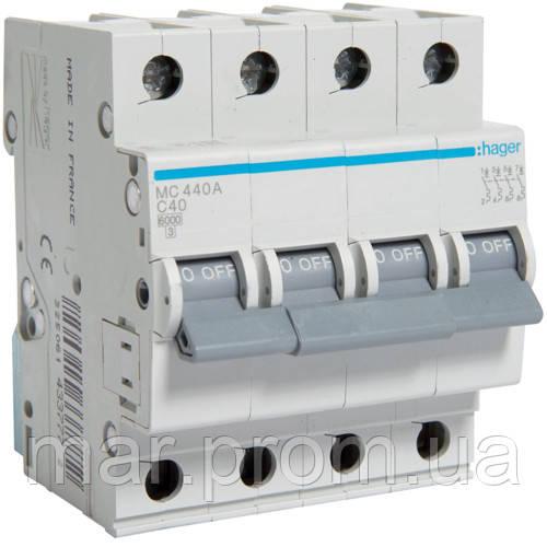 Автоматический выключатель 4P 6kA C-40A 4M