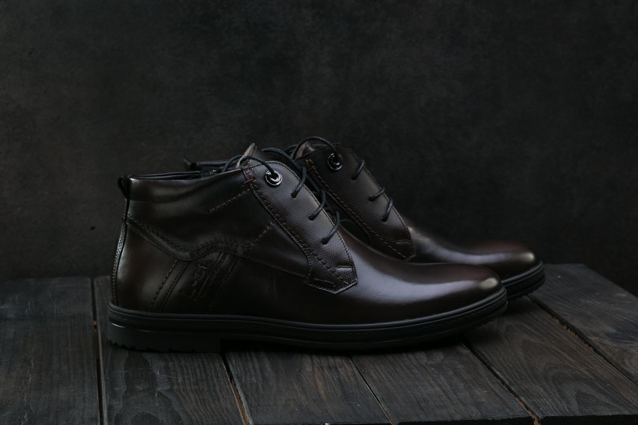 Ботинки L-Style 3589 (зима, мужские, натуральная кожа, коричневый)