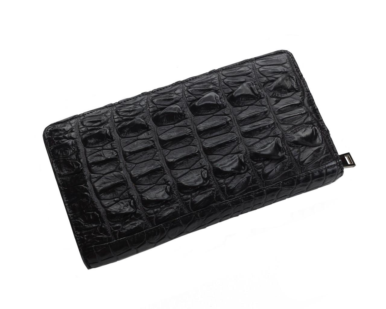 Кошелек из кожи крокодила на молнии Ekzotic Leather Черный (cw 83)