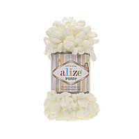 Alize Puffy (Ализе Пуффи) светло-молочный №62 (пряжа, нитки для вязания руками)