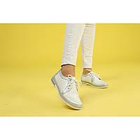 Светлые туфли на низком ходу с перфорацией 37, 38, 40
