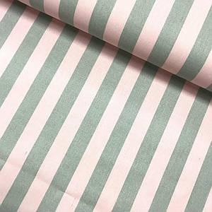 Ткань польская хлопковая, полоска серо-розовая