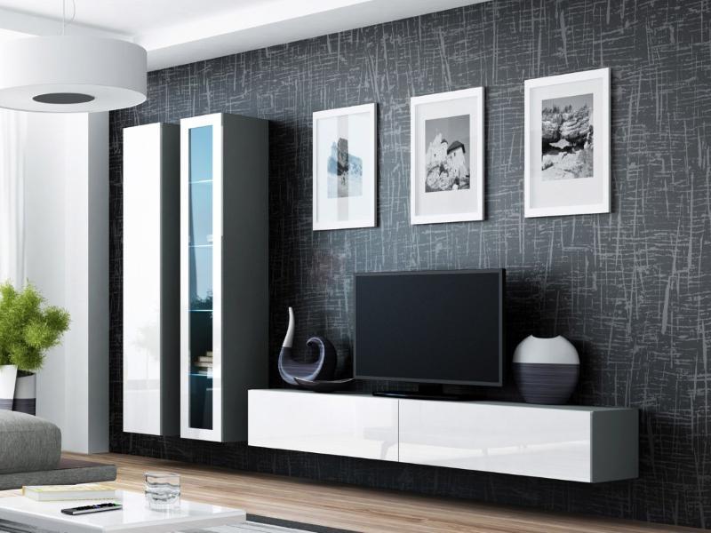 """Стінка в вітальню """"Віго 3/ Vigo 3"""" від Cama (Сірий мат / Білий глянець)."""