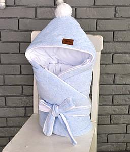 """Велюровый конверт-одеяло на махре """"Голубой меланж"""""""