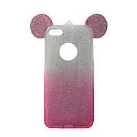 Чехол силиконовый на iphone 4 с перламутровым отливом Ears для Айфон 4 розовый