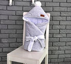 """Велюровый конверт-одеяло на махре """"Серый меланж"""""""