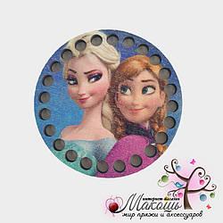 Цветная круглая заготовка для сумочки или корзинки, диаметр 10 см, №3, Анна и Эльза