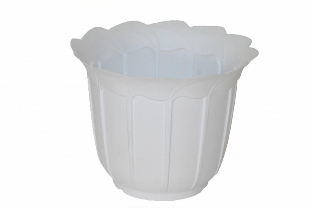 """Кашпо пластиковое для цветов """"Лаура"""", с подставкой, 120 мм (белый)"""