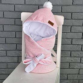 """Велюровый конверт-одеяло на махре """"Розовый меланж"""""""