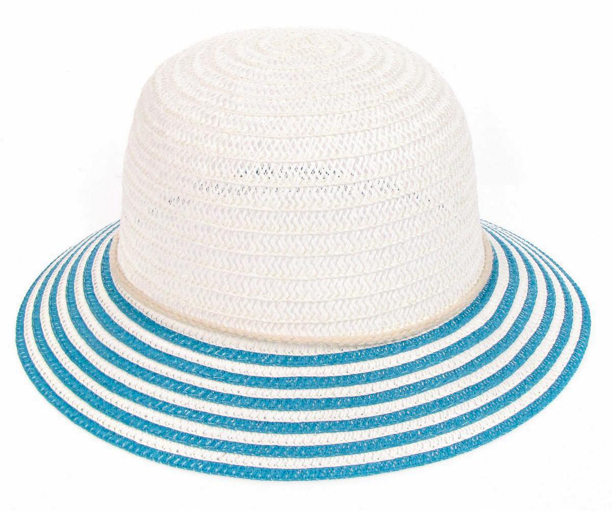 Шляпка с полосатым полем бело-голубая