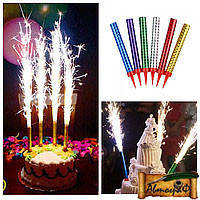 Свечи-фейерверк для тортов бенгальские 15 сантиметров (6 штук в упаковке) ЦВЕТНЫЕ №6714