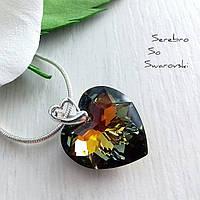 Шикарный, модный и очень красивый кулон с кристаллом Сваровски в цвете хамелеон