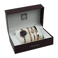 Женские часы, Анна Кляйн, Модель с черным циферблатом в подарочной упаковке, наручные женские часы