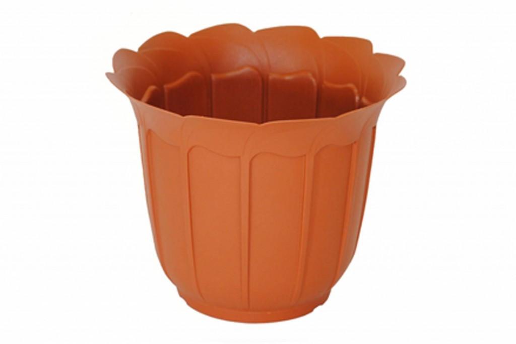 """Вазон пластиковий для квітів """"Лаура"""" з підставкою, 200мм (Теракот)"""
