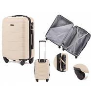 Чемодан дорожный  валіза на 4 колесах WINGS ABS 401 Мала ручная кладь кремова