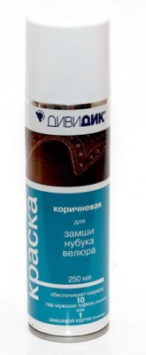 Дивидик Спрей краска-восстановитель для замши, нубука Коричневый, 250мл
