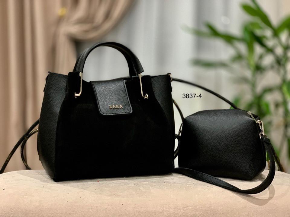 0438f9972a62 Женская сумка ZARA и клатч натуральная замша и кож зам черная - ИНТЕРНЕТ  МАГАЗИН