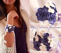 Браслет с цветами. Бело-фиолетовые розы