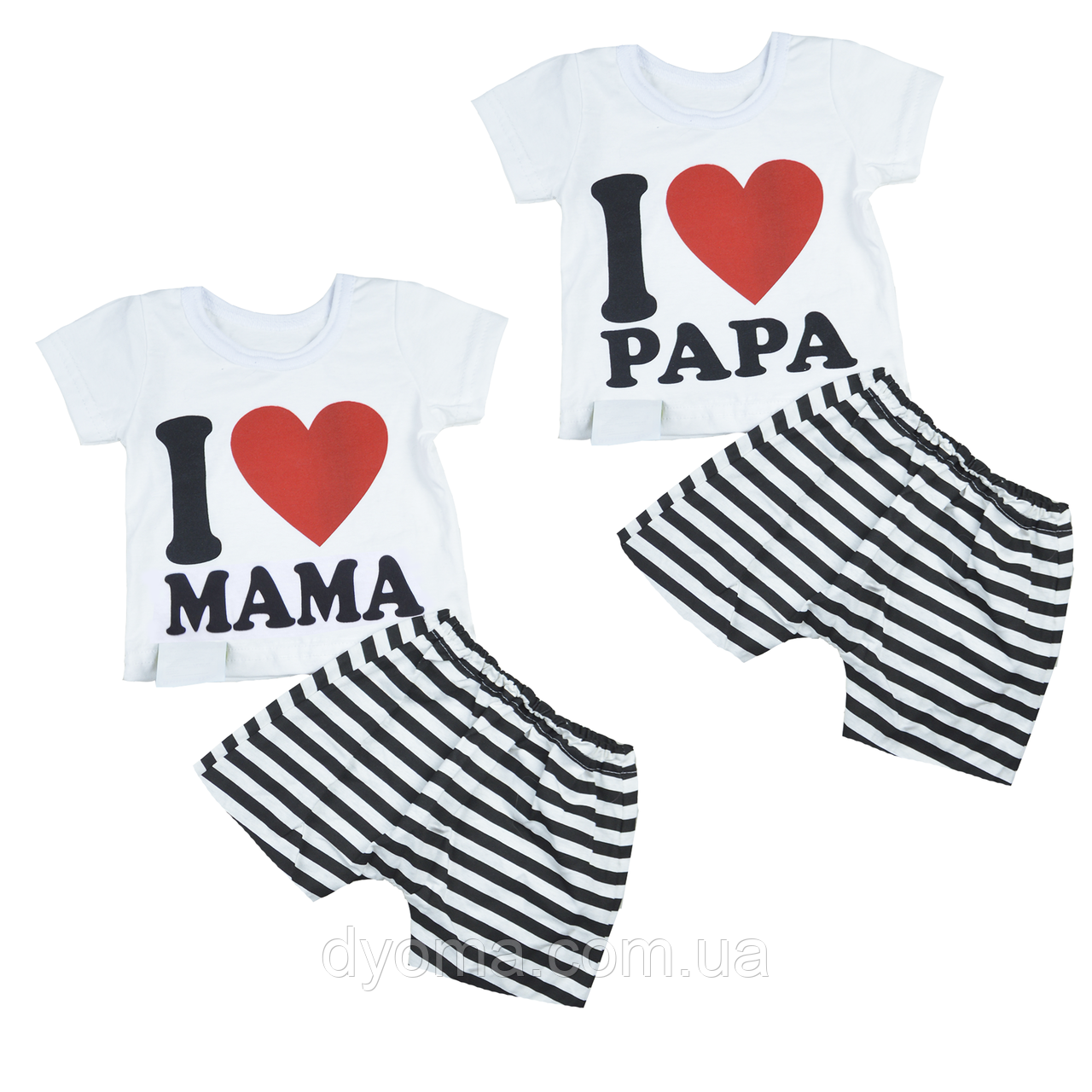 """Детский летний костюм """"Я люблю Маму и Папу"""" для девочек"""