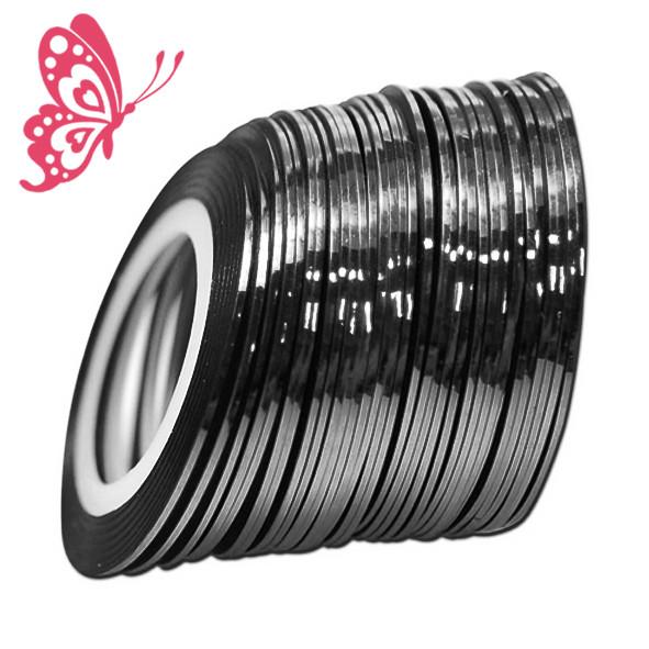 Стрічка на Липкій Основі 1 мм Чорного Кольору для Дизайну Нігтів .