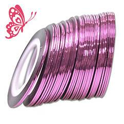 Лента 1 мм Розовая на Липкой Основе для Дизайна Ногтей .