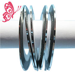 YRE Лента 2 мм на Липкой Основе Серебристого Цвета для Дизайна Ногтей .