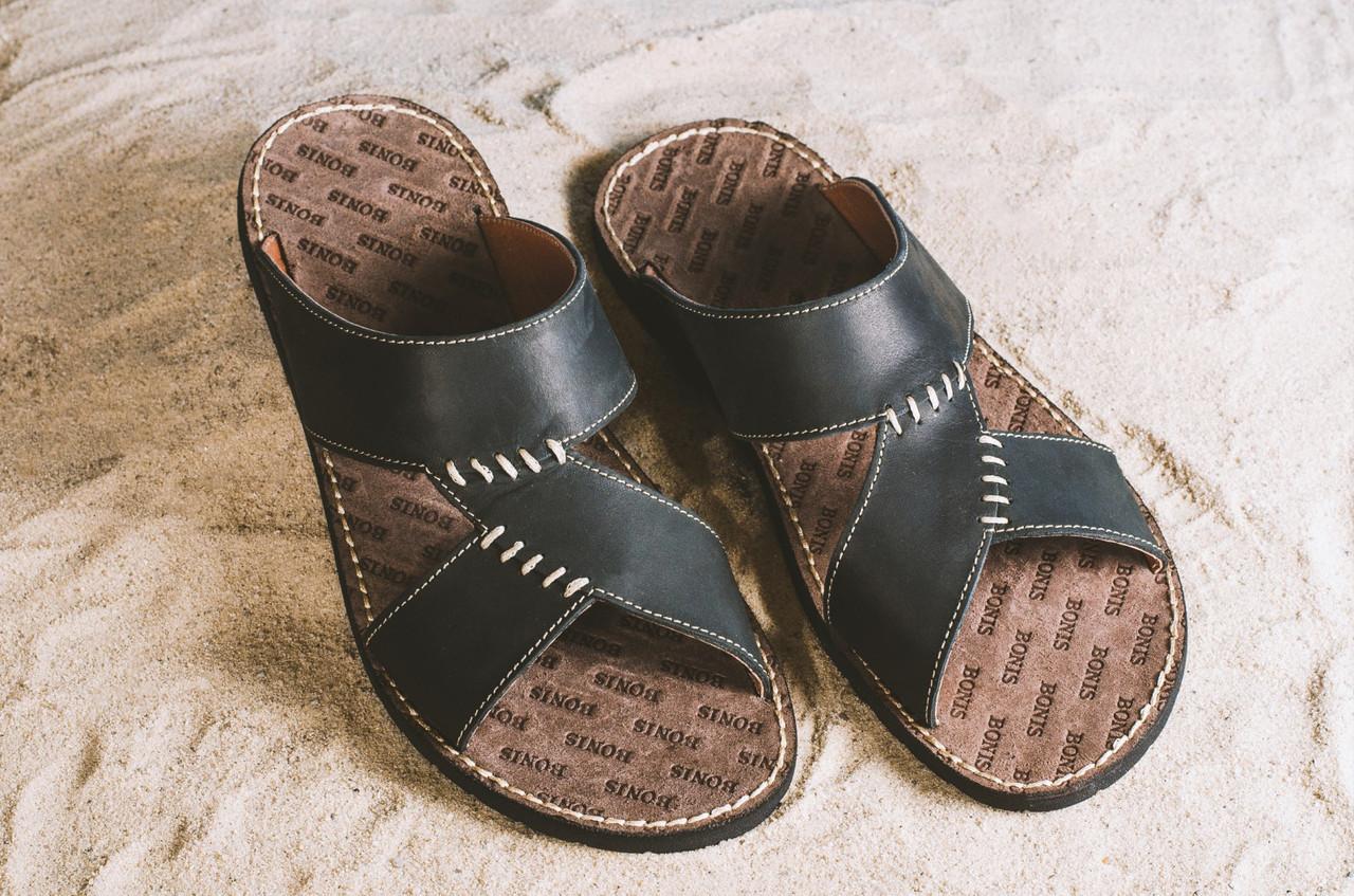 Шлепанцы Bonis Original 27 (лето, мужские, натуральная кожа, черный)