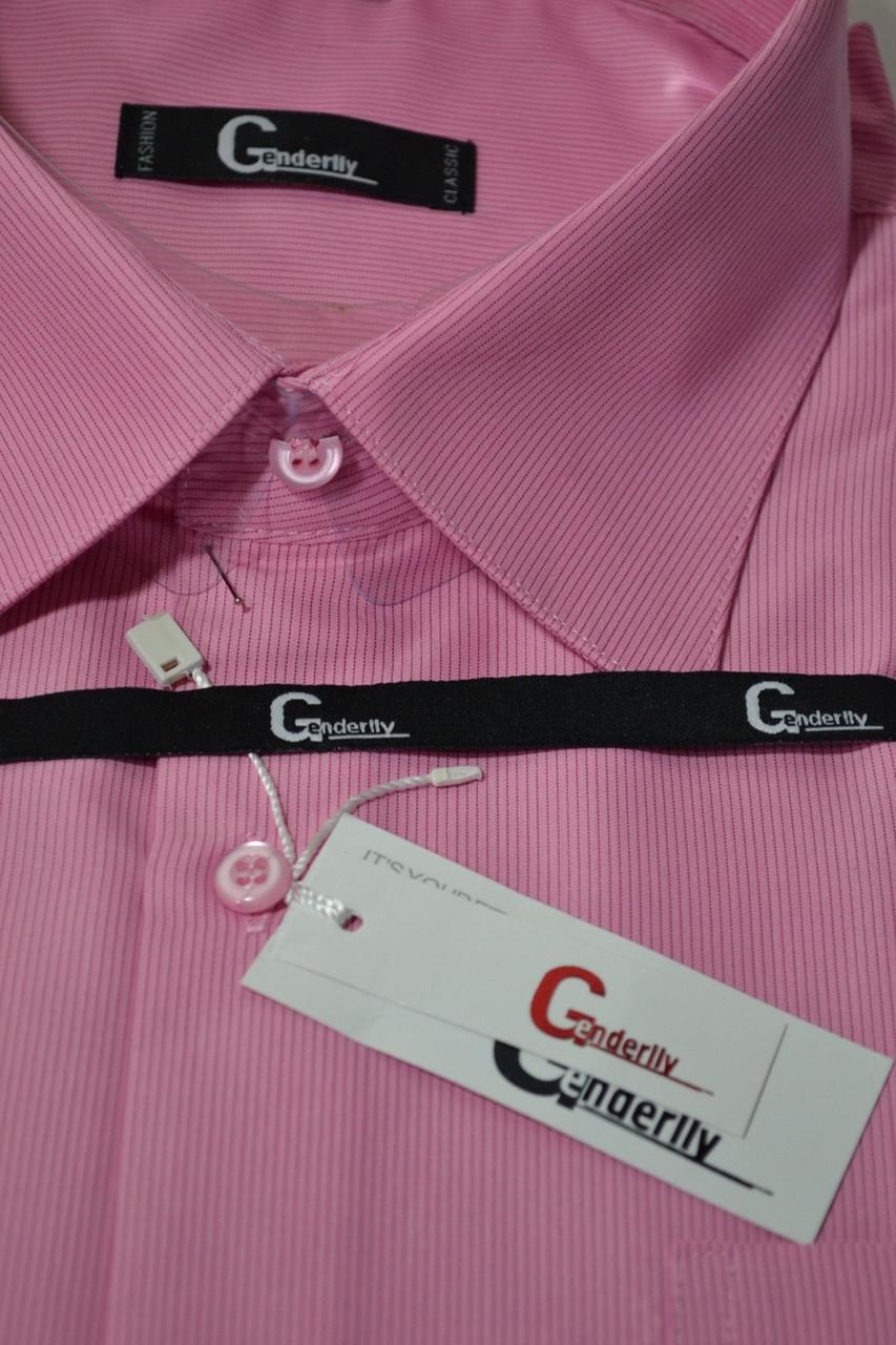 ТЕМНО-РОЖЕВА сорочка в смужку c коротким рукавом BENDU (розміри 40.41.44.45.46)
