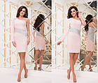 Платье вечернее NOBILITAS 40 - 46 розовое креп - дайвинг с люрексом (арт. 18052), фото 2