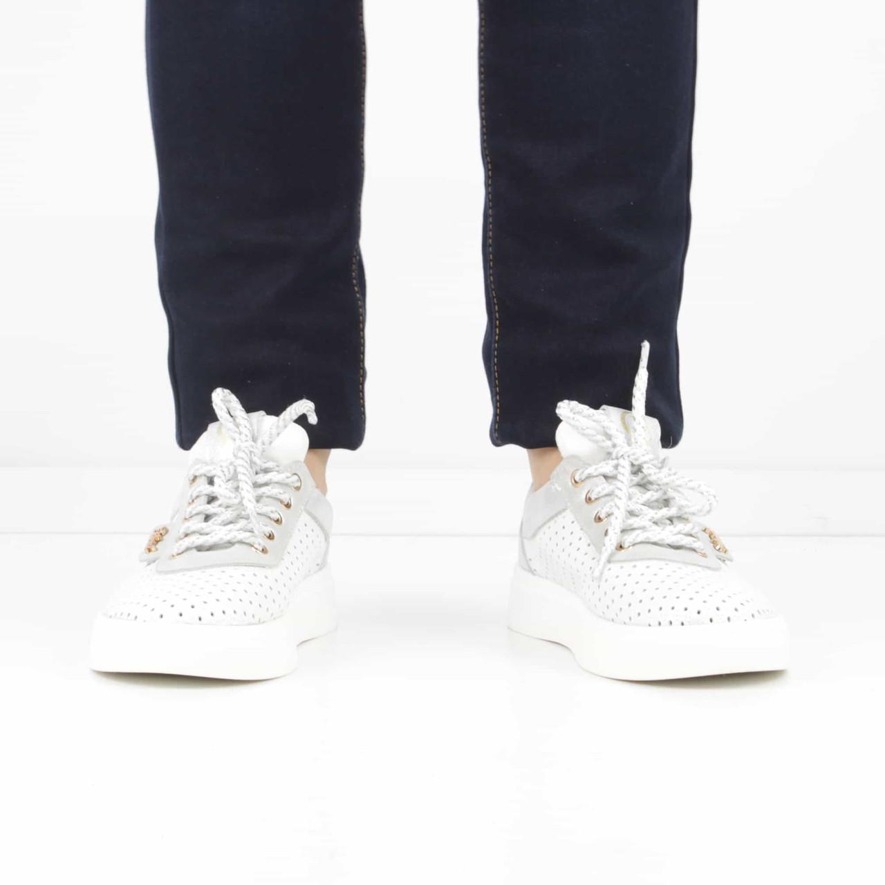 773725ae ... фото Кожаные белые кеды на каблуке (лето), 37 размер, код UT84223, ...