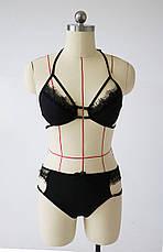 Эротический комплект ажурный бюстик и высокие трусики Сексуальное белье, фото 3