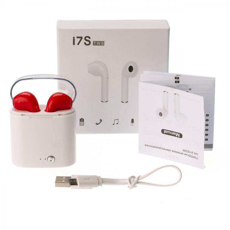 Бездротові навушники Bluetooth i7S TWS з кейсом Червоні