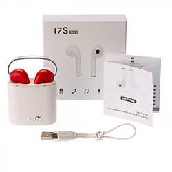 Беспроводные наушники Bluetooth Airpods  i7S TWS  с кейсом красные