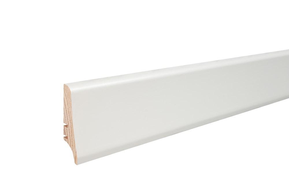 Плинтус Барлинек  покрытый белой пленкой, высота 58 мм.