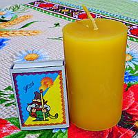 Циліндрична свічка D45-75мм з 100% бджолиного воску; Восковая свеча D45-75мм из 100% пчелиного воска
