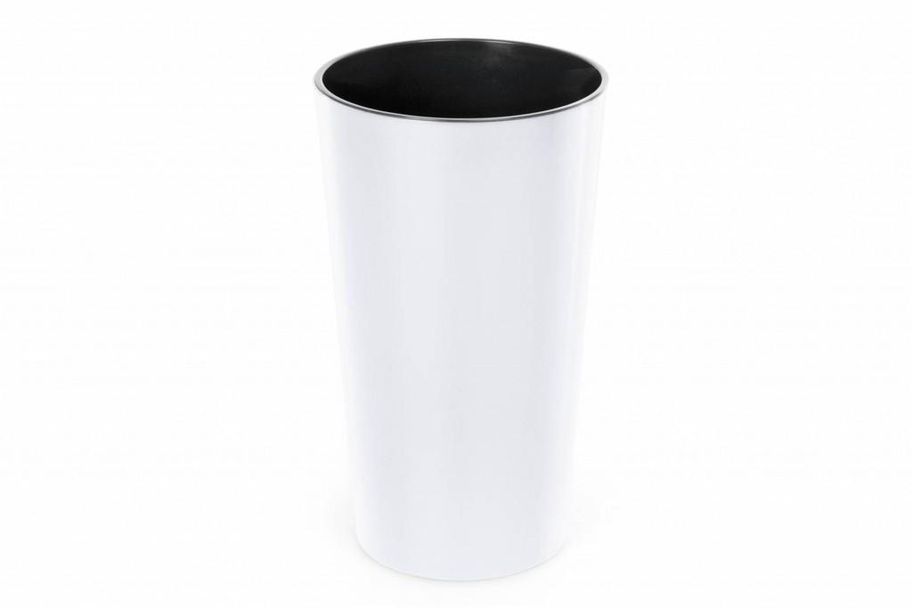 """Кашпо пластиковое напольное """"Лилия"""", с вкладом, 140мм, (белый)"""