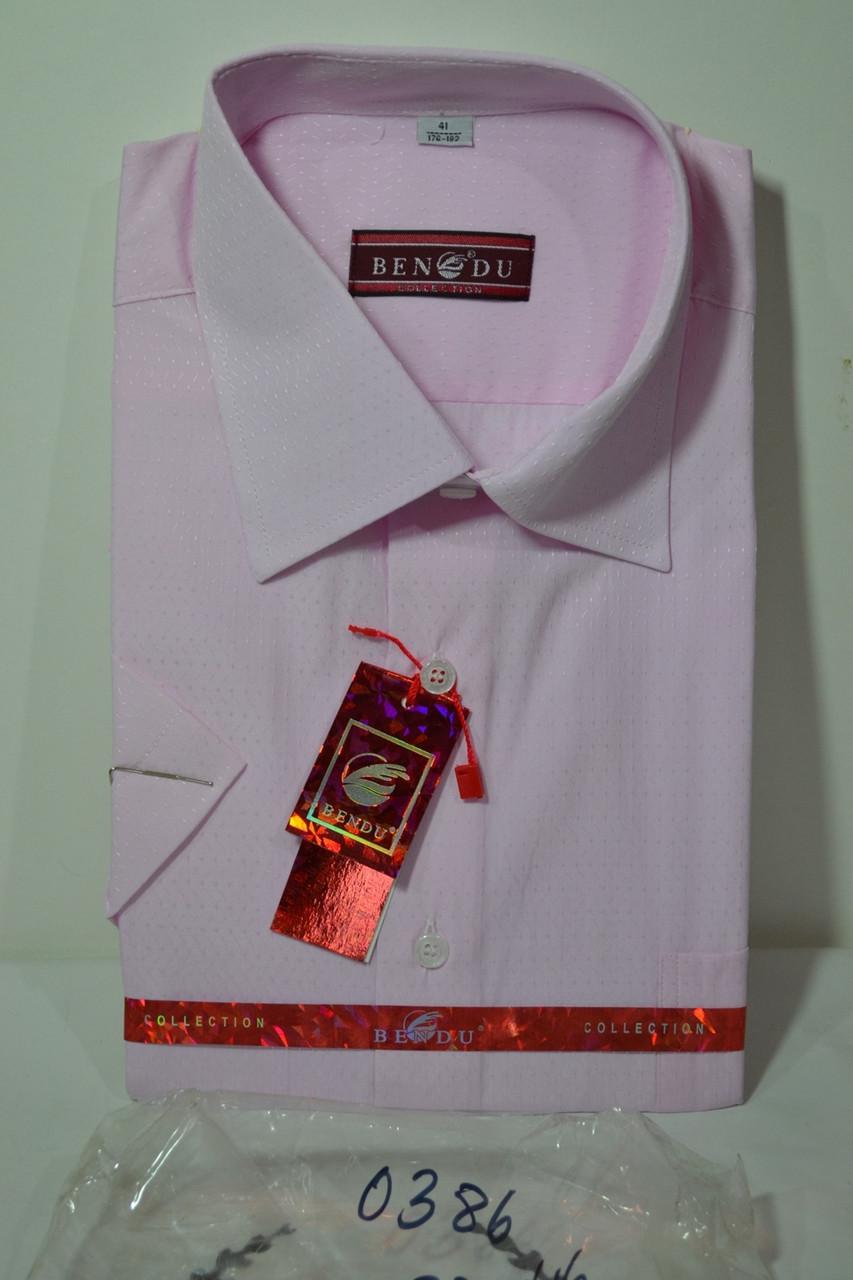 РОЖЕВА сорочка З ВІЗЕРУНКОМ c коротким рукавом BENDU (розміри 38.39.40.41.42.43.44.46)