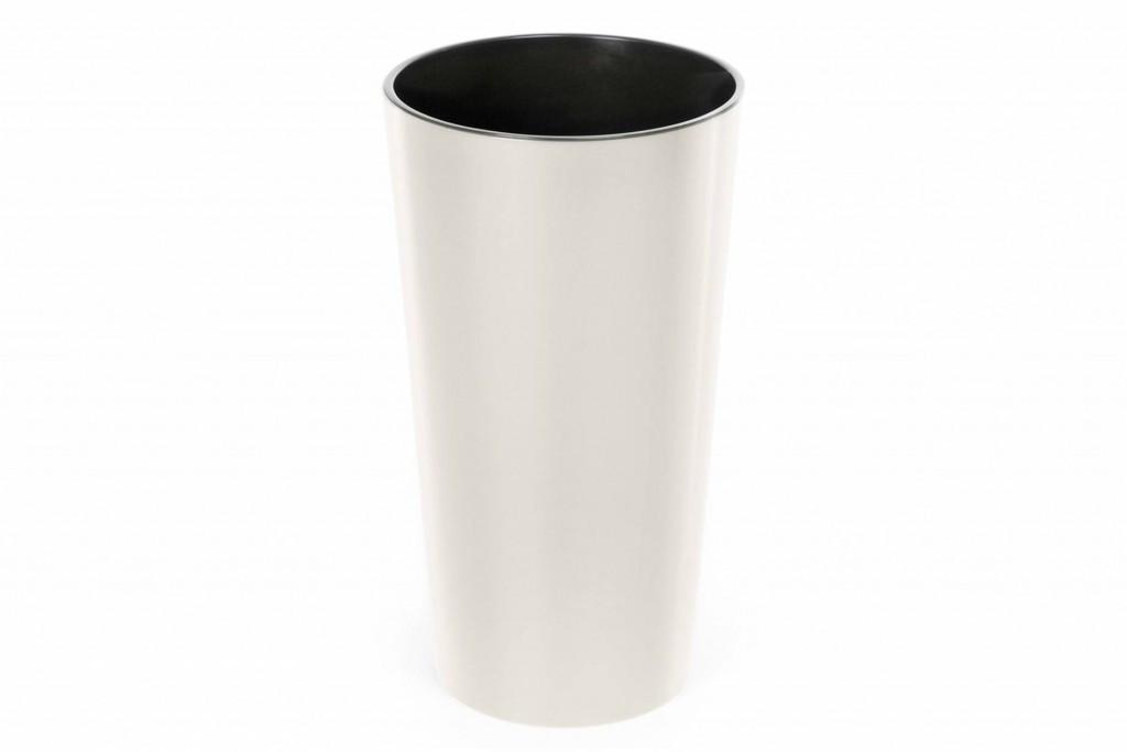 """Кашпо пластикове підлогове """"Лілія"""", з вкладом, 250мм, (Кремовий)"""
