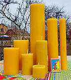 Цилиндрическая восковая свеча D68-130мм из натурального пчелиного воска, фото 5