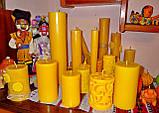Цилиндрическая восковая свеча D68-130мм из натурального пчелиного воска, фото 6