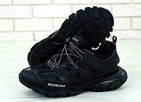 Кроссовки мужские Balenciaga Track в стиле Баленсиага Трек, натуральная кожа, текстиль код KD-11795. Черные