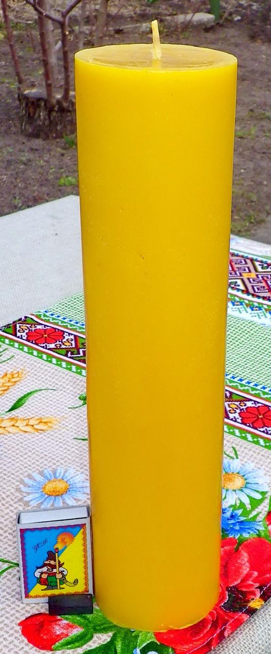 Цилиндрическая восковая свеча D70-300мм из натурального пчелиного воска