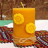 Цилиндрическая восковая свеча D68-130мм из натурального пчелиного воска, фото 4