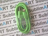 Usb кабель стандарт 100 см для iPhone, iPod, iPad 8 pin (салатовый)
